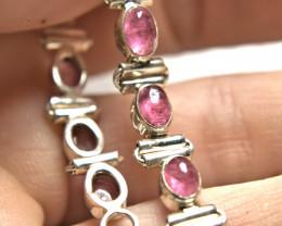 53.5 Tcw. Elegant African Tourmaline, Sterling Silver Bracelet