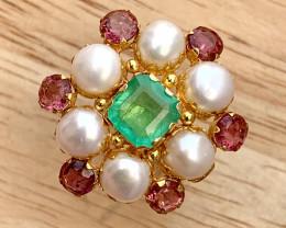 18k Gold Natural Emerald, tourmaline and Pearls Ring.