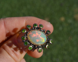 Opal and Chrome Diopside Ring in Sterling Silver