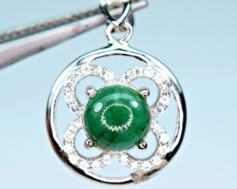 Precious1.10Carat Green Emerald ,CZ  925 Silver Pendant
