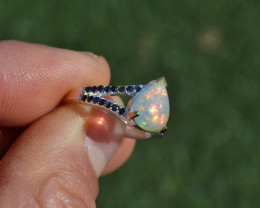 Opal and Sapphire Ring in Sterling Silver