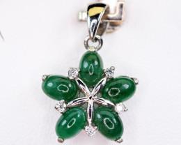 Natural Precious 5pis Green Emerald ,CZ  925 Silver Pendant