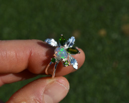 Opal and Chrome Diopside Floral Ring in Sterling Silver