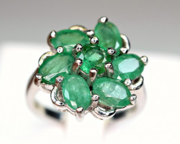Natural Precious Top Color 7 Pis Top Green Emerald 925 Silver Ring