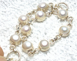 45.5 Tcw. Pearl / Sterling Silver Bracelet - 7.5 Inches - Gorgeous