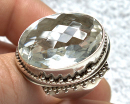 79.5 Tcw. Sterling Silver Quartz Ring - Size 8.25 - Gorgeous