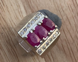 Natural Ruby and Diamond ring.