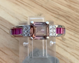 Natural Tourmaline With CZ Ring.