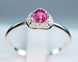 Natural Burmese Top Red Spinel ,CZ 925 Silver Ring  BR#1