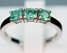 Natural 0.42Ct Precious Top Green Color Emerald ,CZ 925 Silver Ring
