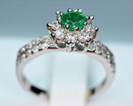 Natural 0.28Ct Precious Top Green Color Emerald ,CZ 925 Silver Ring