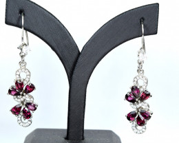 Natural Rhodolite Garnet,CZ 925 Silver Earrings