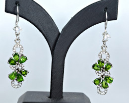 Natural Chrome Diopside,CZ 925 Silver Earrings