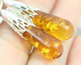 Natural Baltic Amber Earrings   code GI 1719
