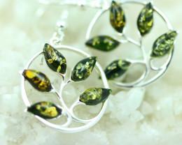 Natural Green Baltic Amber Earrings   code GI 1725