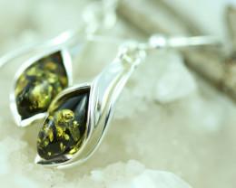 Natural Green Baltic Amber Earrings   code GI 1728