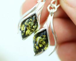 Natural Green Baltic Amber Earrings   code GI 1729