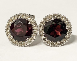 Natural Rhodolite 1.72 Ct And Topaz ~ Silver  Earring