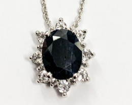 Natural Black Sapphire 3.01 Ct And Topaz ~ Silver Necklace