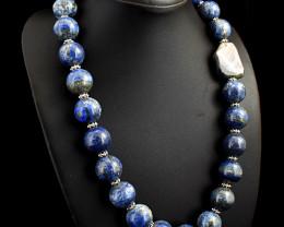 Genuine 1292.00  Cts Lapis Lazuli & Labradorite  Beads Necklace