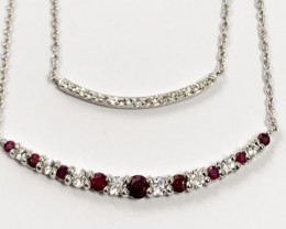 Natural Red Ruby  And Topaz ~ Silver Necklace