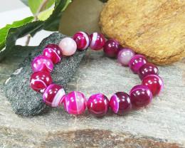 Banded Pink Agate 10mm healing Bracelet , Size S-M (BB007)