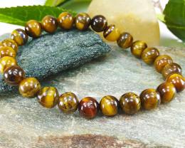 Natural Tiger Healing Bead Bracelet 8mm, Unisex  Size L (TB002)
