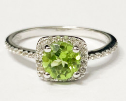 Stylish Natural Peridot  And Topaz Ring ~ Silver