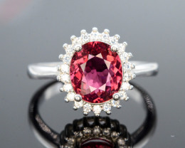Unique Design 19.30 Ct Silver Ring ~ With Pink Tourmalne