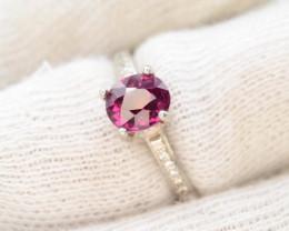 Unique Design13.45  Ct Silver Ring ~ With Garnet Stone