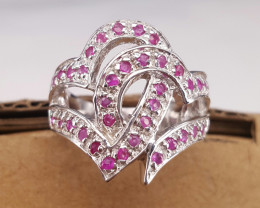 Heart style Glass Filled Ruby Ring