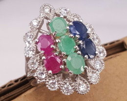 Natural Mix stone and CZ Ring