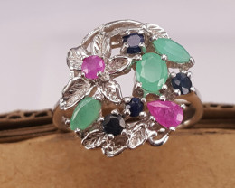Natural Emerald Sapphire and Glass Filled Ruby Ring.