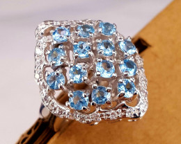 Natural Topaz and CZ Ring