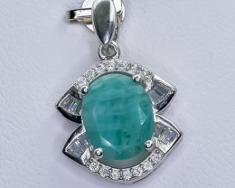 13.12 Crt Natural Emerald 925 Sterling Silver Pendant