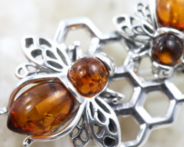 Natural Baltic Amber Sterling Silver Brooch   code GI 1753