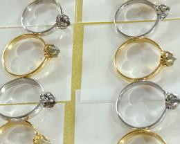 Natural raw crystal solitiare diamond rings