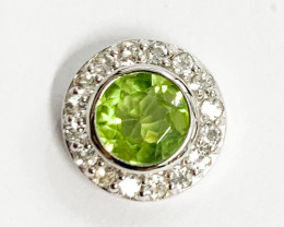 Natural Peridot 0.86 Ct And Topaz ~ Silver Necklace