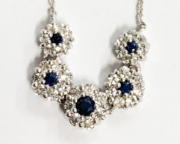 Natural Sapphire  And Topaz ~ Silver Necklace