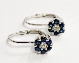 Natural Blue Sapphire And Topaz ~ Silver Earring