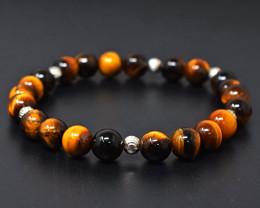 Genuine 103.00 Cts Tiger Eye  Beads Bracelet