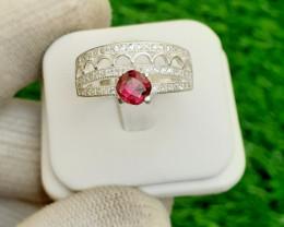 Natural Rhodolite 925 Silver Ring