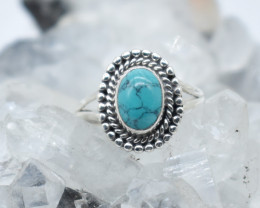 TURQUOISE RING 925 STERLING SILVER NATURAL GEMSTONE JR1113