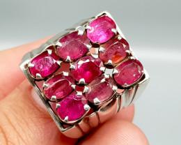Natural Pink Tourmaline 69.10 Carats Hand Made Silver Ring