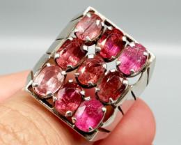 Natural Pink Tourmaline 64.90 Carats Hand Made Silver Ring