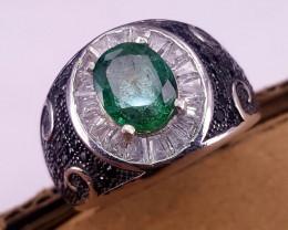 Natural Emerald CZ Ring