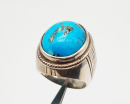 Natural Blue Turquoise (Feroza) Ring Sterling Silver