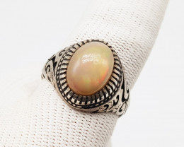 Natural Multi Fire Oval Opal 925 Sterling Silver Ring