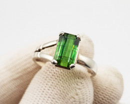 Natural Green Topaz Ring  Sterling Silver