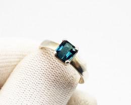 Natural Indicolite Tourmaline Solitaire Ring